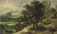 an extensive river landscape with the angel appearing to balaam's ass by jacques fouquieres