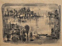 harbour scene by cheong soo pieng