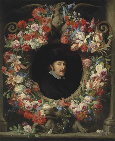 a sculpted cartouche with a garland of parrot tulips, snowballs, roses, morning glory, carnations and other flowers, surrounding a portrait by abraham brueghel