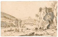 rocky landscape with figures on a river bank, below a castle by josua de grave