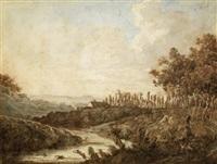 paysage de rivière animé de baigneurs by olivier lemay