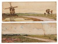 paire de paysage : un paysage avec un moulin et un paysage des environs de rotterdam by willem roelofs
