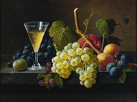 still life with champagne glass by severin roesen