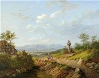 paysage au bord des alpes et promeneuses by matthias rudolf toma