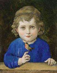 blondes mädchen mit perlenkette im haar hält einen kleinen vogel auf dem finger by hans huber-sulzemoos