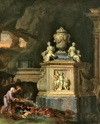 hexe in einer felsgrotte bei einem beschwörungsritual vor einem steinernen monument by charles cornelisz de hooch