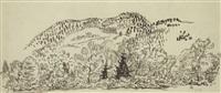 hügelige landschaft (sketch) by axel leskoschek