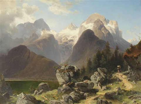a woman on a pathway in an alpine landscape by josef holzer