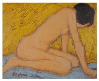 woman nude on knees by william anzalone
