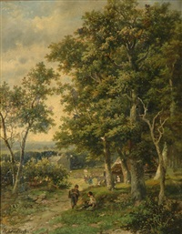 cottage amongst trees by hendrik barend koekkoek