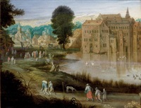 promeneurs près d'un plan d'eau by philips de momper the elder