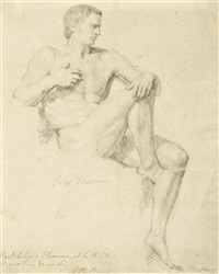 a seated male nude, right leg raised (study) by john flaxman