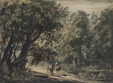 a peasant family on a woodland path by jacob van liender
