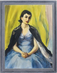 portrait of a young woman in a blue dress by mariana edna volz