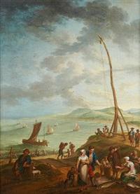 conversation de pêcheurs sur fond de lagune animée by flemish school (17)
