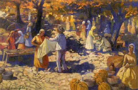 market scene in fall by emille lindenfeld