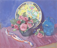 still life with flowers, charger, jug and beads by clarence hinkle