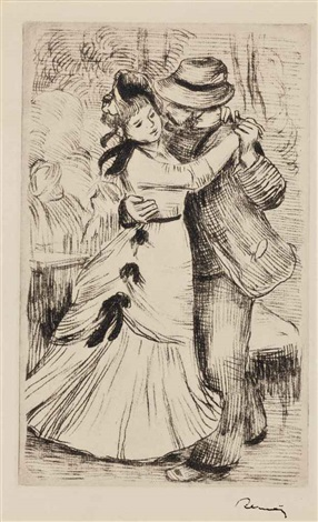 la danse à la campagne 2e planche by pierre auguste renoir