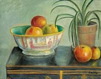 zátiší s jablky v míse a květináčem na stole by otakar (othon) coubine