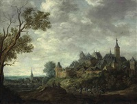 an extensive landscape with a walled city and travelers by françois van knibbergen