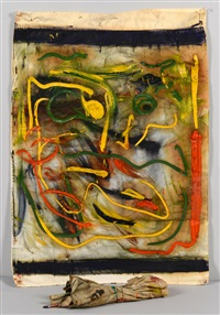 beauford delaney, oil on fabric, abstract of face by beauford delaney