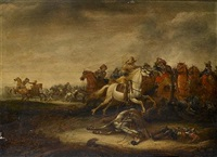 a cavalry skirmish by abraham van der hoeff