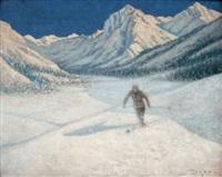 sous le ciel d'engadine - le skieur by georges victor laurent dantu