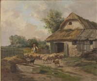 herding sheep out of a barn by clement (charles-henri) quinton