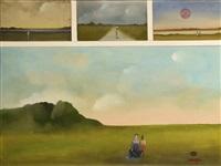 silhouettes au milieu de la plaine (4 works) by saul steinberg