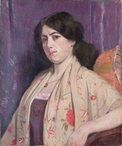 portrait de dame en négligé fleuri by edward grenet