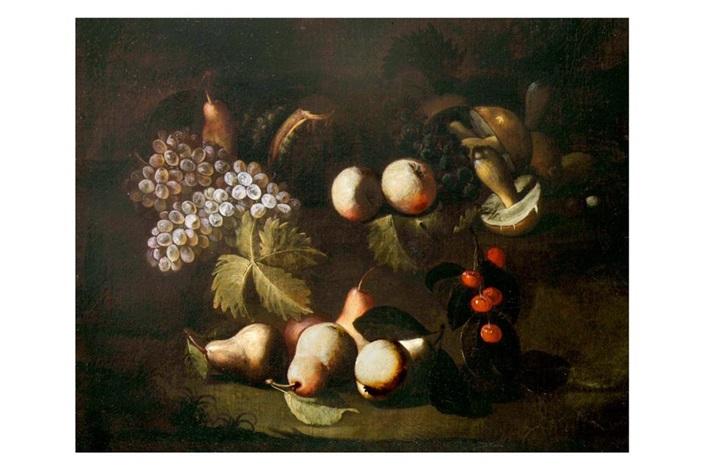 natura morta di frutta e funghi by francesco antonio