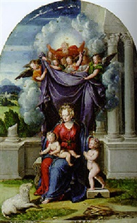 the madonna and child with the infant saint john the baptist revealed by god the father and angels by camillo filippi