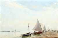 yachts at blakeney by arthur gerald ackermann