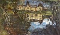 château devant la pièce d'eau by marie guillaume charles leroux