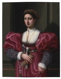 portrait of a lady in a crimson dress by vincenzo di benedetto tamagni
