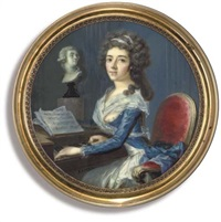 a young lady, playing a pianoforte, seated in a gilt-wood red upholstered chair by georges antoine keman