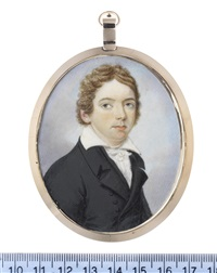 a portrait of a young gentleman, generally accepted as john keats, wearing black double-breasted coat and waistcoat, white frilled chemise, stock and tie by charles hayter