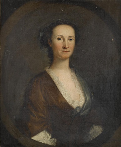 portrait of a lady (helen hozier née robinson?) in a brown dress, a lace chemise and a blue shawl by john wollaston