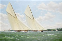 'vigilant' and 'britannia' neck-and-neck in the solent by richard m. firth