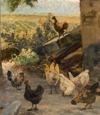 hühner vor einem stall by johann baptist hofner