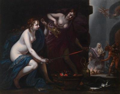 anfinome und evadne die töchter des pelias verhext von medea by simone pignoni