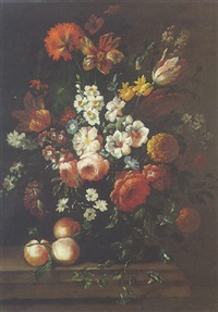 a still of roses, hollycocks, daffodils and other flowers in a glass vase, with three peaches, all on a stone ledge by philips van kouwenberg