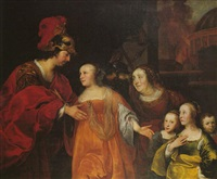 portrait of a family in the guise of volumnia and her children before coriolanus by abraham lambertsz jacobsz van den tempel