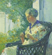 knitting on the porch by clara d. davidson