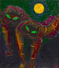 dua kucing dan bulan (two cats and moon) by popo iskandar