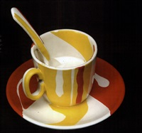 teacup, saucer, and spoon (collab. w/ hui ka kwong) by hui ka kwong and roy lichtenstein