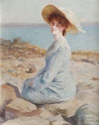 elégante sur la plage by henri vincent anglade