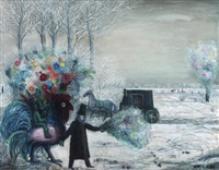 boy on rooster and people with flowers by kees andrea