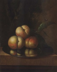 peaches and a bee on a pewter platter on a marble ledge, in a wooded landscape by johannes christianus roedig