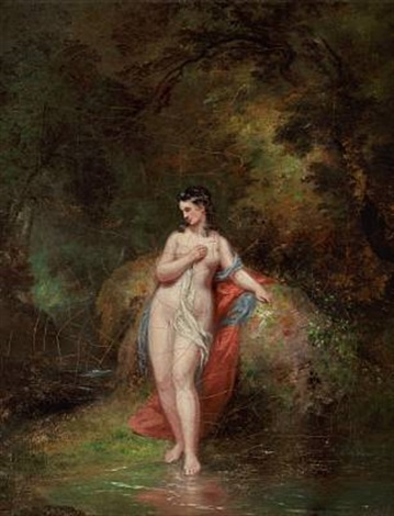 a bather at a forest lake by william overend geller